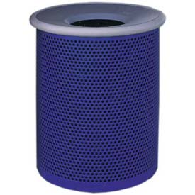 """Metal Waste Container W/Gray Aluminum Funnel Lid, 22"""" Dia. X 28"""" Blue"""