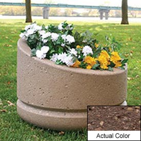 Wausau SL4011 Round Outdoor Planter - Weatherstone Brown 24x18