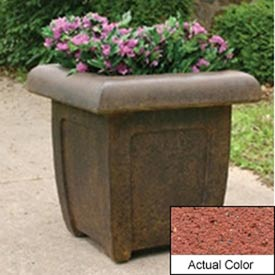 Wausau SL4071 Square Outdoor Planter - Weatherstone Brick Red 20x20x20