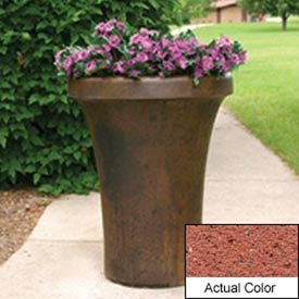 Wausau SL4091 Round Outdoor Planter - Weatherstone Brick Red 24x36