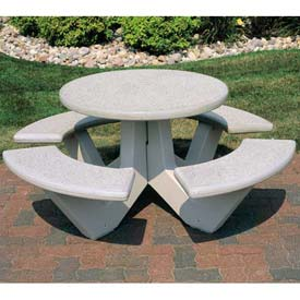 "Wausau Tile 66"" Concrete Round Picnic Table, Misty Gray"