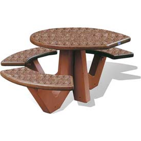 "Wausau Tile 66"" ADA Compliant Concrete Oval Picnic Table, Brick Red"
