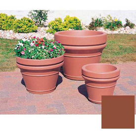 Wausau TF4041 Round Outdoor Planter - Smooth Stained Brick Red 28x22