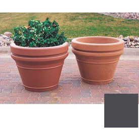 Wausau TF4043 Round Outdoor Planter - Smooth Stained Light Charcoal 20x18