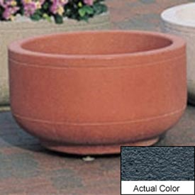 Wausau TF4080 Round Outdoor Planter - Weatherstone Charcoal 30x17