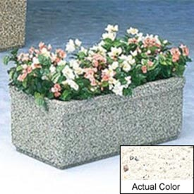 Wausau TF4150 Rectangular Outdoor Planter - Weatherstone White 36x18x14