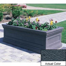 Wausau TF4177 Rectangular Outdoor Planter - Weatherstone Charcoal 96x30x30