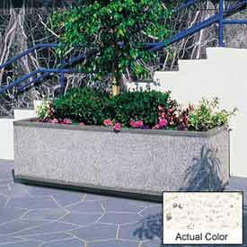Wausau TF4180 Rectangular Outdoor Planter - Weatherstone White 96x30x30