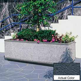 Wausau TF4180 Rectangular Outdoor Planter - Weatherstone Charcoal 96x30x30