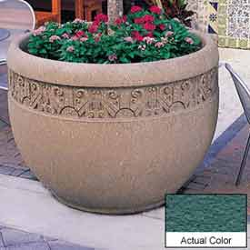 Wausau TF4229 Round Outdoor Planter - Weatherstone Soulard Green 48x35
