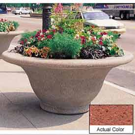 Wausau TF4302 Round Outdoor Planter - Weatherstone Brick Red 80x35