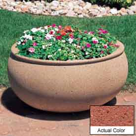 Wausau TF4341 Oval Outdoor Planter - Weatherstone Brick Red 42x36x20