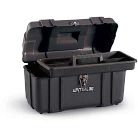 "Waterloo PP-1709BK Plastic Portable 17"" Plastic Tool Box - Black"