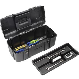 "Waterloo PP-2009BK Plastic Portable 20"" Plastic Tool Box - Black"