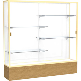 "Reliant Display Case Autumn Oak Base, Gold Frame, White Back 72""W x 16""D x 72""H"