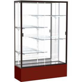 "Spirit Display Case Maroon Base, Bronze Frame, Mirror Back 48""W x 16""D x 72""H"