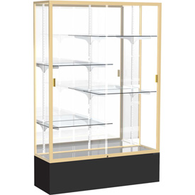 "Spirit Display Case Black Base, Gold Frame, Mirror Back 48""W x 16""D x 72""H"