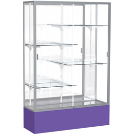 "Spirit Display Case Purple Base, Satin Frame, Mirror Back 48""W x 16""D x 72""H"