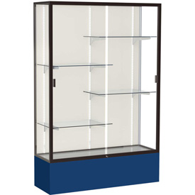 "Spirit Display Case Navy Base, Bronze Frame, Fabric Back 48""W x 16""D x 72""H"