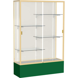 """Spirit Display Case Forest Green Base, Gold Frame, Fabric Back 48""""W x 16""""D x 72""""H"""