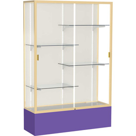 "Spirit Display Case Purple Base, Gold Frame, Fabric Back 48""W x 16""D x 72""H"
