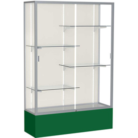 "Spirit Display Case Forest Green Base, Satin Frame, Fabric Back 48""W x 16""D x 72""H"