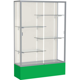 "Spirit Display Case Kelly Green Base, Satin Frame, Fabric Back 48""W x 16""D x 72""H"