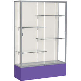 "Spirit Display Case Purple Base, Satin Frame, Fabric Back 48""W x 16""D x 72""H"
