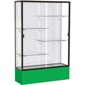 "Spirit Display Case Kelly Green Base, Bronze Frame, White Back 48""W x 16""D x 72""H"