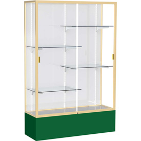 "Spirit Display Case Forest Green Base, Gold Frame, White Back 48""W x 16""D x 72""H"