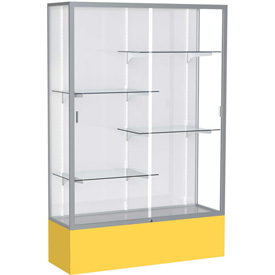 "Spirit Display Case Golden Rod Base, Satin Frame, White Back 48""W x 16""D x 72""H"