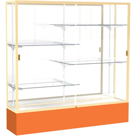 "Spirit Display Case Orange Base, Gold Frame, Mirror Back 72""W x 16""D x 72""H"