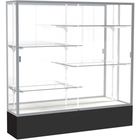 "Spirit Display Case Black Base, Satin Frame, Mirror Back 72""W x 16""D x 72""H"