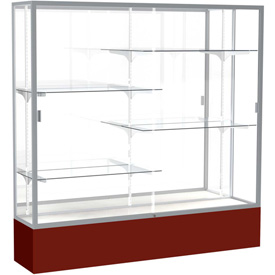 "Spirit Display Case Maroon Base, Satin Frame, Mirror Back 72""W x 16""D x 72""H"
