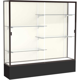 "Spirit Display Case Black Base, Bronze Frame, Fabric Back 72""W x 16""D x 72""H"