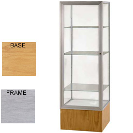 "Keepsake Display Case Autumn Oak Base, Satin Frame, Clear Back 24""W x 72""H"
