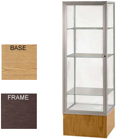 "Keepsake Display Case Light Oak Vinyl Base, Bronze Frame, Mirror Back 24""W x 72""H"