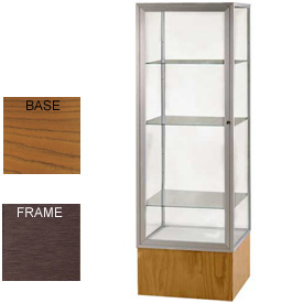 "Keepsake Display Case Carmel Oak Base, Bronze Frame, Mirror Back 24""W x 72""H"