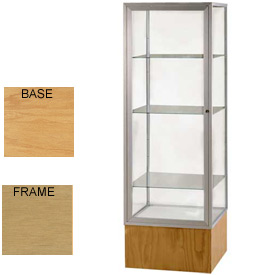 "Keepsake Display Case Autumn Oak Base, Gold Frame, Mirror Back 24""W x 72""H"