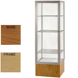 "Keepsake Display Case Carmel Oak Base, Gold Frame, Mirror Back 24""W x 72""H"