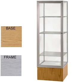 "Keepsake Display Case Light Oak Vinyl Base, Satin Frame, Mirror Back 24""W x 72""H"
