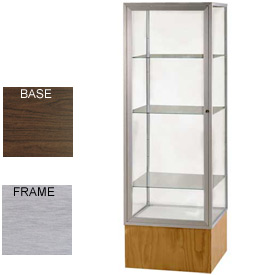 "Keepsake Display Case Walnut Vinyl Base, Satin Frame, Mirror Back 24""W x 72""H"