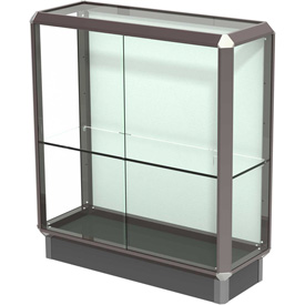 "Prominence Display Case Dark Bronze Frameame, Fabric Back 36""W x 14""D x 40""H"