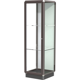 Prominence Display Case Dark Bronze Frameame, Fabric Back, Hinged Door