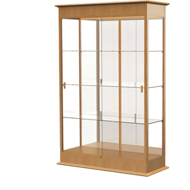 "Varsity Display Case Autumn Oak, Mirror Back, Sliding Door 48""W x 18""D x 77""H"