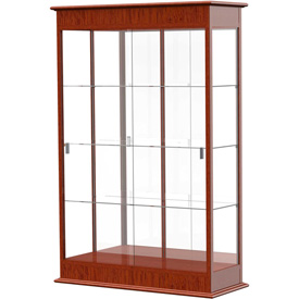 "Varsity Display Case Cherry Oak, Mirror Back, Sliding Door 48""W x 18""D x 77""H"