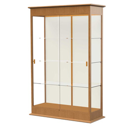 "Varsity Display Case Carmel Oak, Fabric Back, Sliding Door 48""W x 18""D x 77""H"