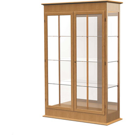 "Varsity Display Case Autumn Oak, Mirror Back, Hinged Door 48""W x 18""D x 77""H"