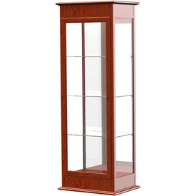 "Varsity Display Case Cherry Oak, Mirror Back 25""W x 18""D x 77""H"
