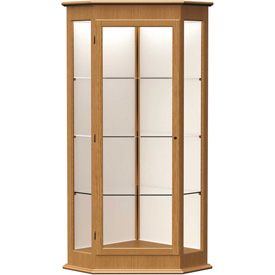 "Varsity Display Case Autumn Oak, Fabric Back 28""W x 28""D x 77""H"